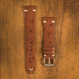 Cinturino Vintage Struzzo M1 Marrone Medio Filo Naturale