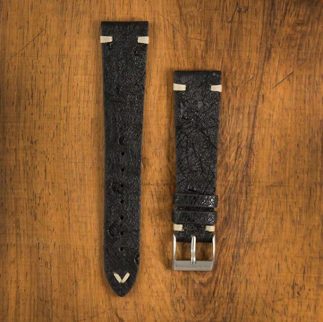 Cinturino Vintage Struzzo M1 Nero Filo Naturale