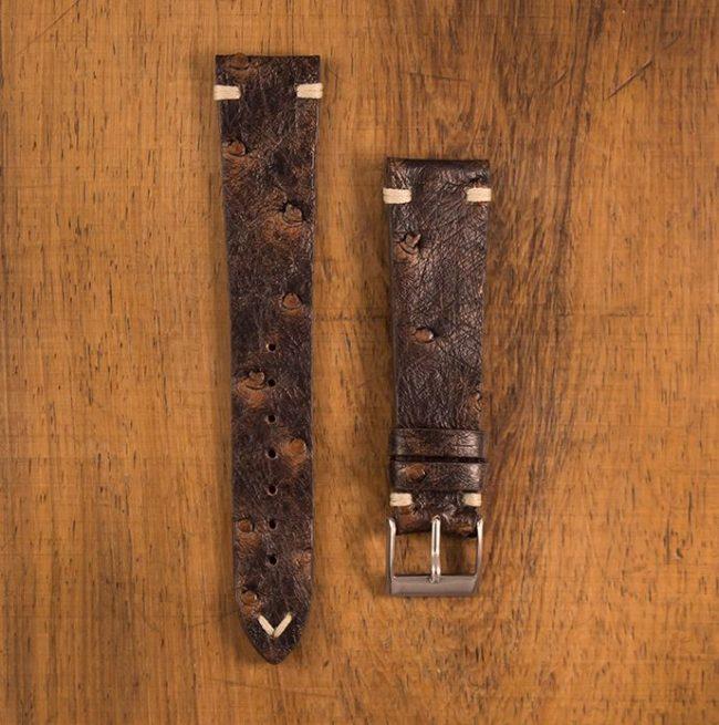 Cinturino Vintage Struzzo M1 Marrone Anticato Filo Naturale