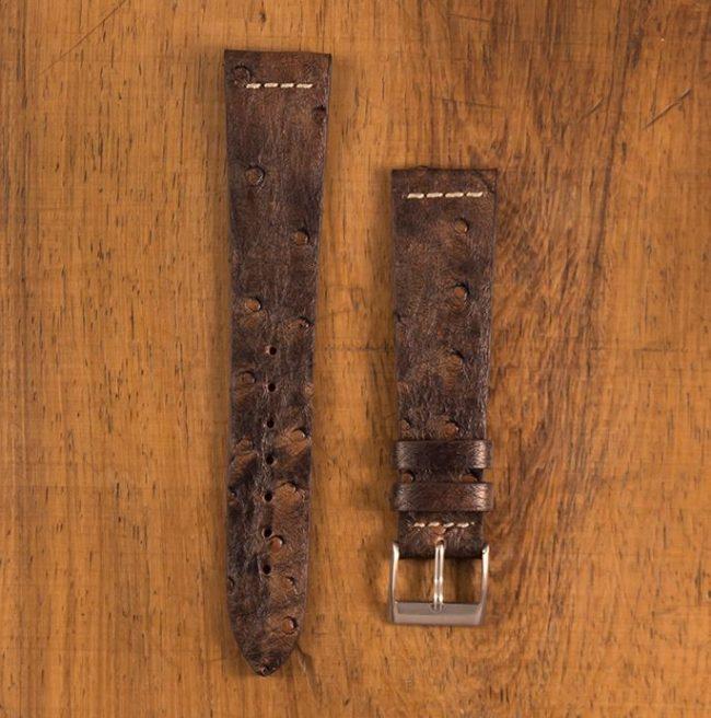 Cinturino Vintage Struzzo M3 Marrone Anticato Filo Naturale